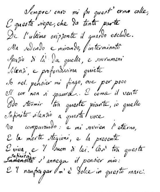 L'Infinito di G.Leopardi - Secondo manoscritto autografo